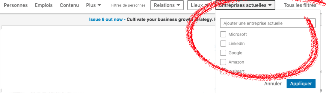 linkedin filter by company