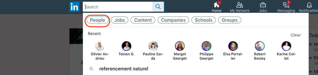 Go to LinkedIn and open a people search page