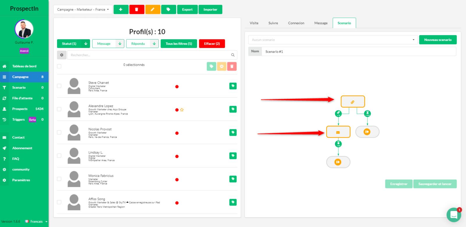 Configurer un scénario avec ProspectIn
