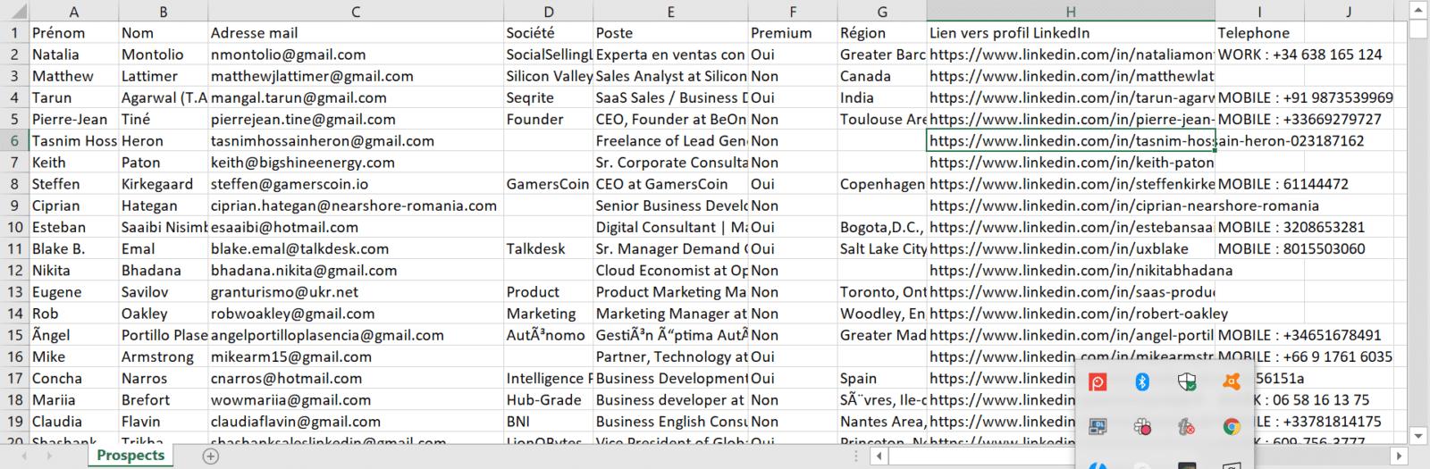exportar datos para scrapper en linkedin