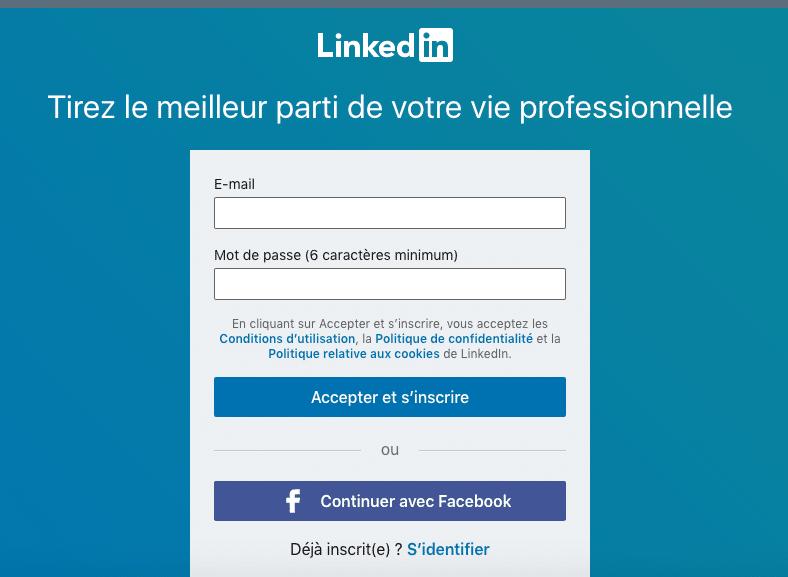s'inscrire sur LinkedIn