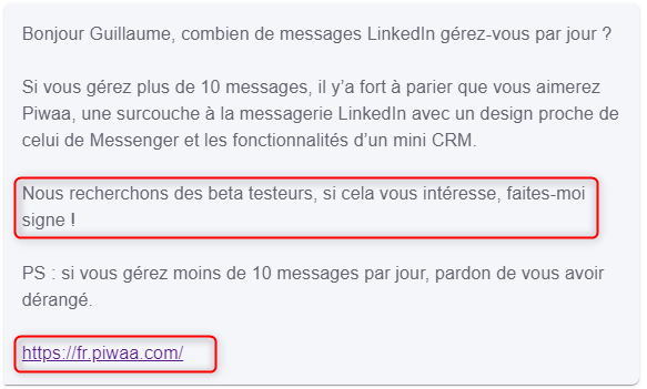 message linkedin prospection exemple 6
