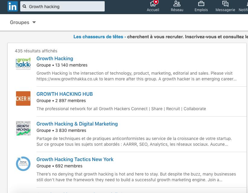 recherche de groupe linkedin via la barre de recherche