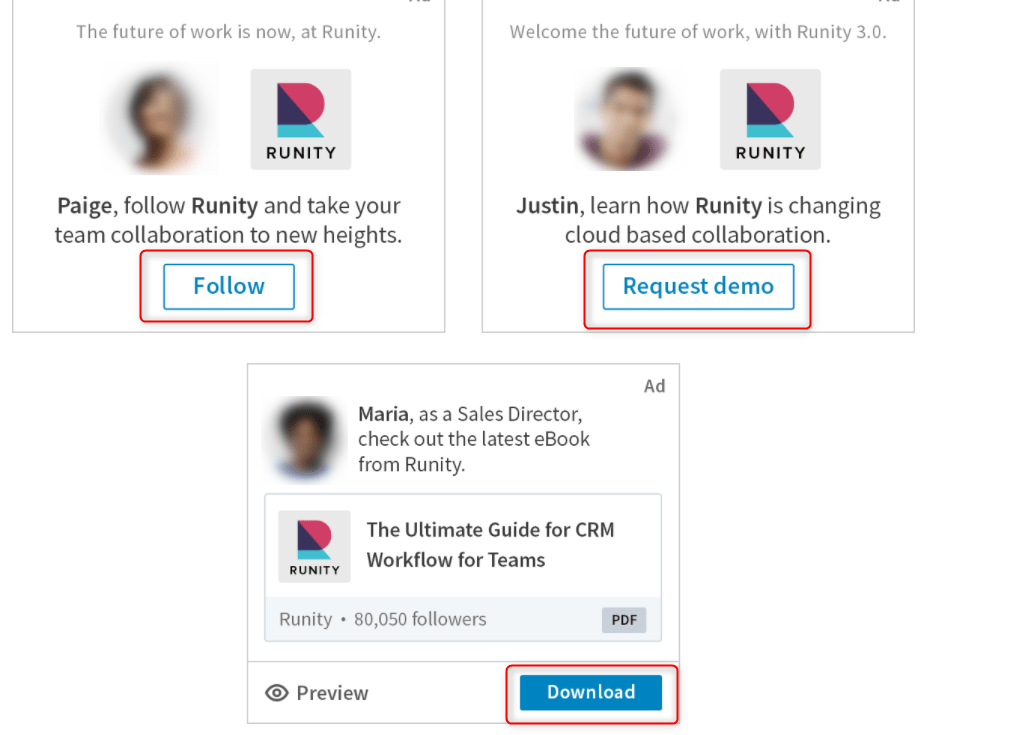 linkedin ads format