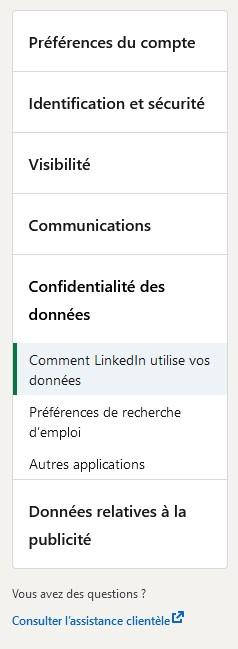 Options pour exporter ses contacts LinkedIn