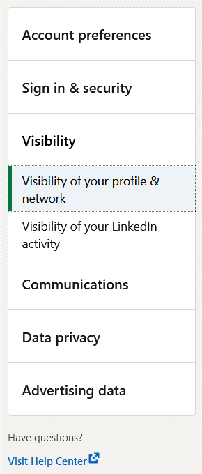 Settings to activate the private mode on LinkedIn