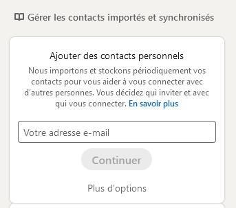 Gérer les contacts importés et synchronisés LinkedIn
