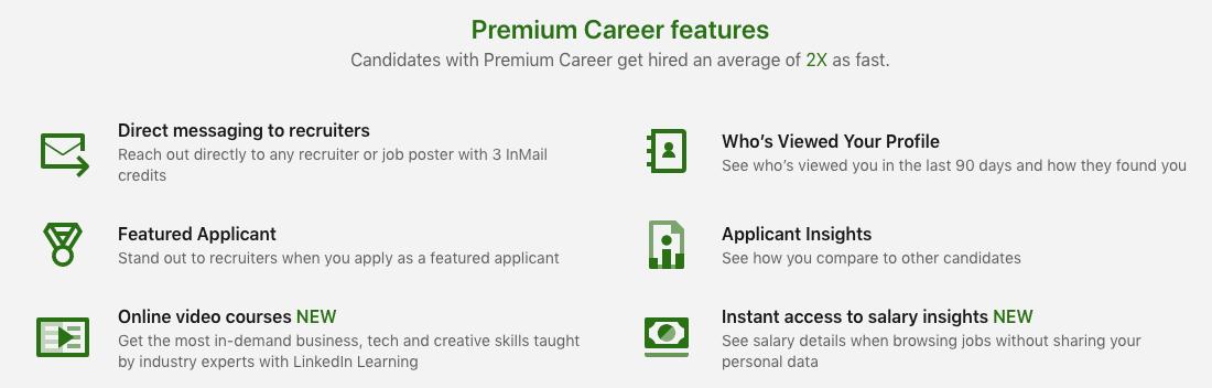 LinkedIn premium career