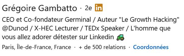 Exemple de résumé LinkedIn