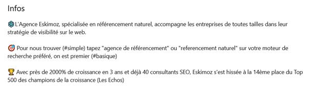 Exemple d'un bon résumé LinkedIn pour le référencement