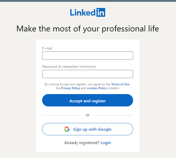 LinkedIn sign up
