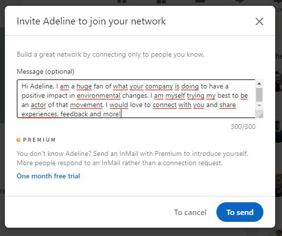 linkedin example message recruiter