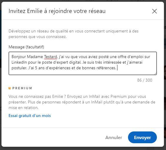 message recruteur linkedin exemple 2