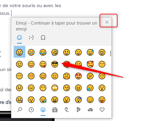 raccourci clavier emoji ouvert