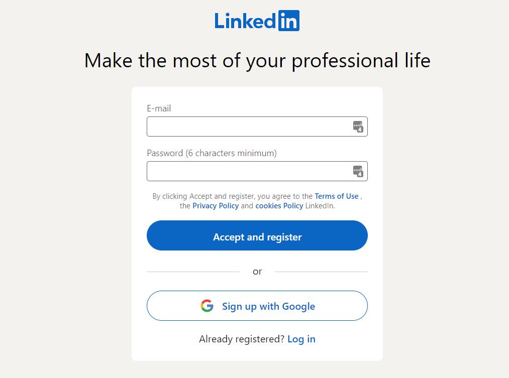 linkedin register