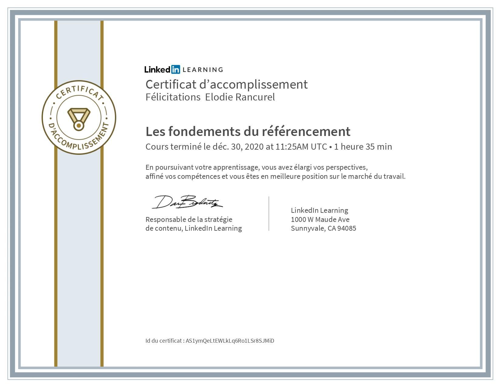 linkedin learning certificat