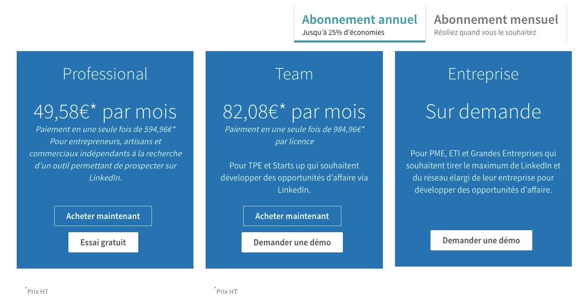 linkedin sales navigator tarif annuel