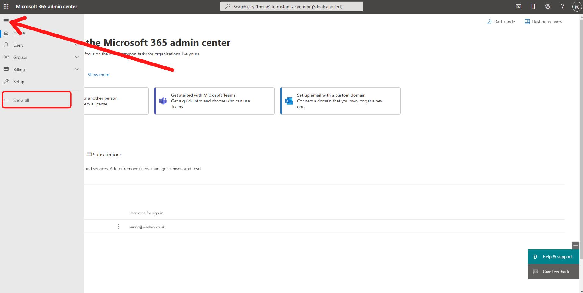 Admin center MS365 1